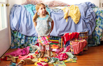 Child with a messy room
